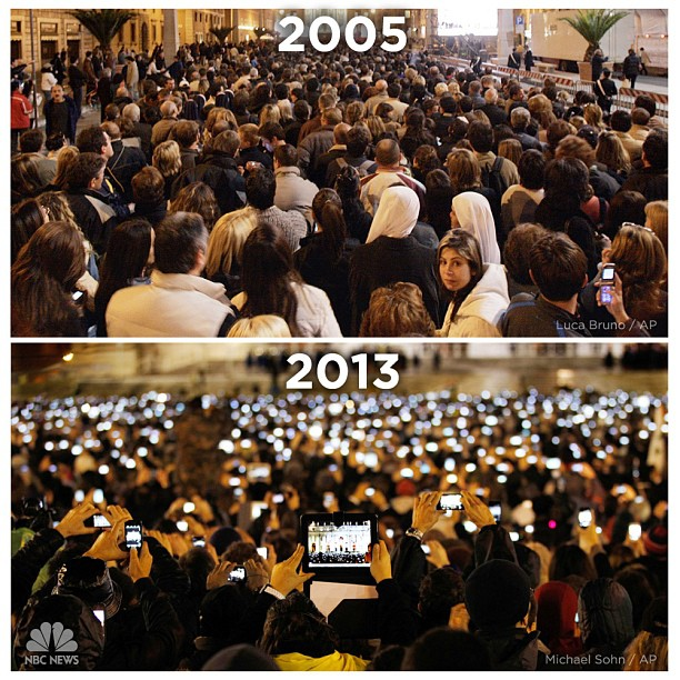 How the world has changed: St. Peter's Square in 2005 and 2013: http://instagram.com/p/W2BuMLQLRB/